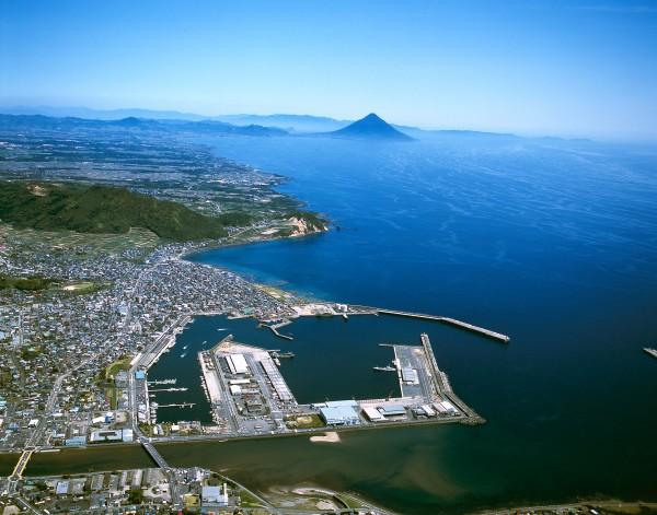 枕崎港上空写真