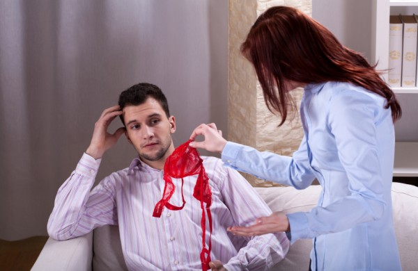 Wife finds somebody's underwear near husband