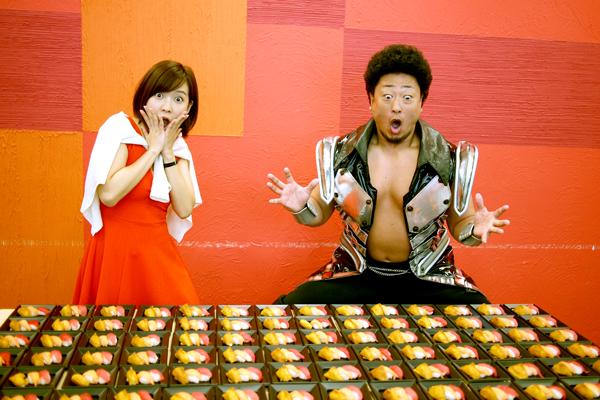 寿司に驚く二人