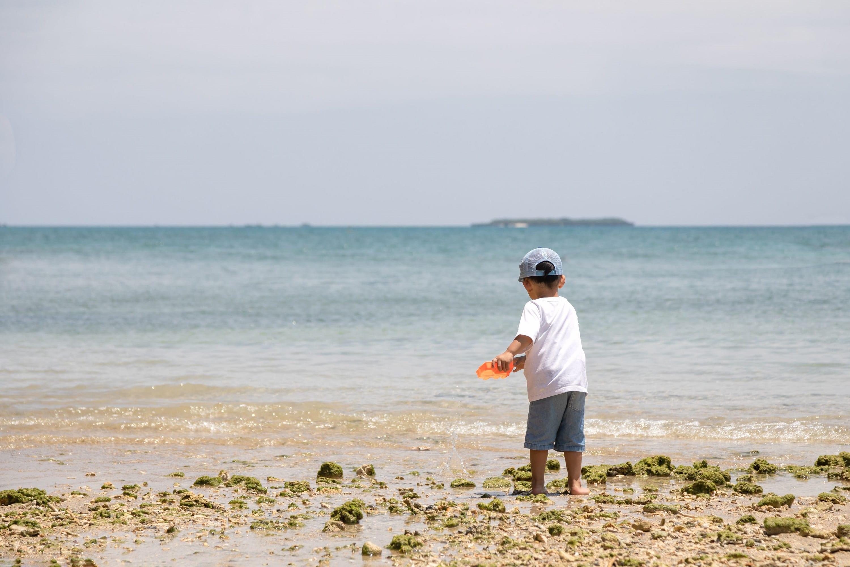 浜辺で遊ぶ男の子