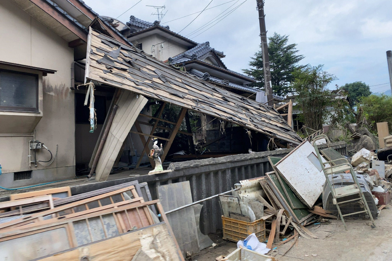 熊本県人吉市、全壊した家屋