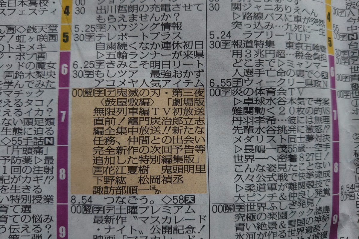 福島民報・ラテ欄